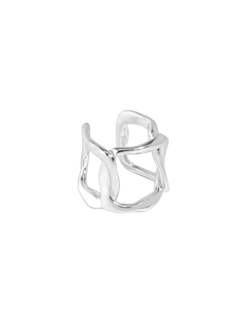 Silver [single] 925 Sterling Silver Hollow Geometric Minimalist Single Earring